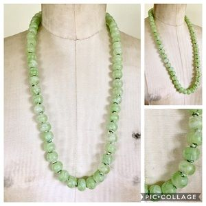 Art Deco Green Molded Art Glass Necklace 1930s